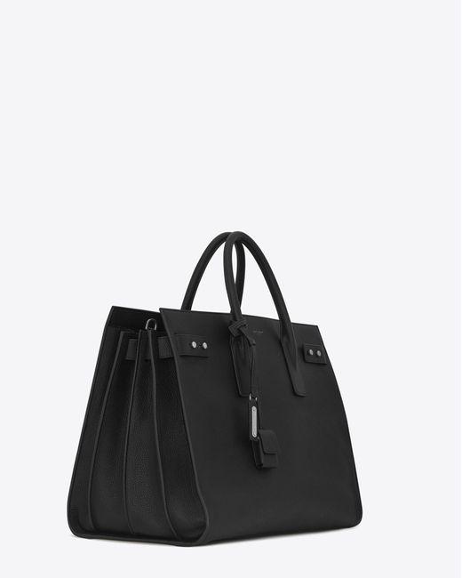 Saint Laurent - Black Sac De Jour Large In Grained Leather for Men - Lyst