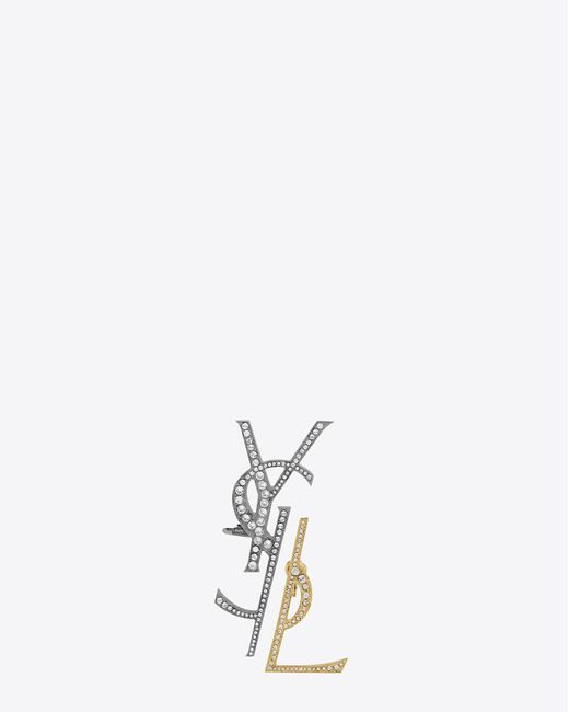 Saint Laurent - Gray Monogram Deconstructed Earrings In Gunmetal, Gold And Clear - Lyst