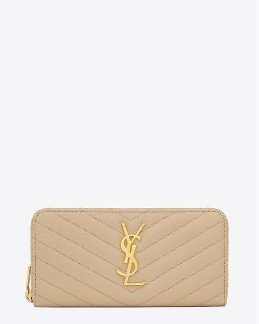 Saint Laurent - Natural Zip Around Wallet In Powder Textured Matelassé Leather - Lyst