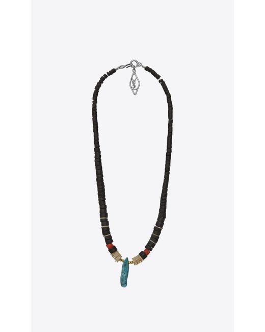 Saint Laurent - Multicolor Collier en bois, nacre, gorgone, turquoise et laiton argent for Men - Lyst