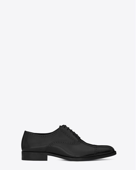 16e4119a4d Saint Laurent Montaigne 25 Richelieu Shoe In Black Leather in Black ...