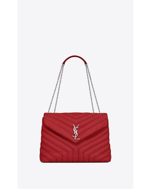 Saint Laurent - Medium Loulou Monogram Chain Bag In Lipstick Red