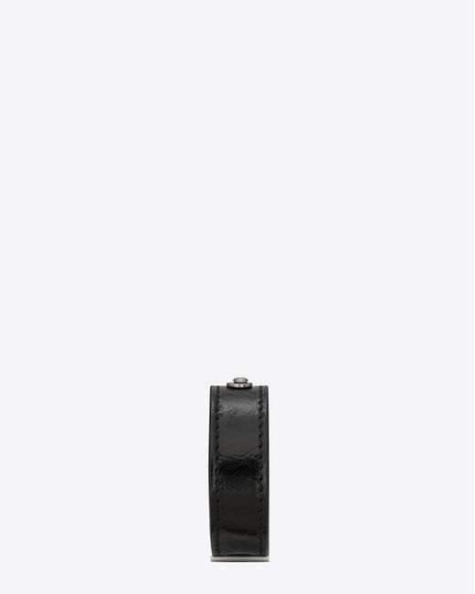 Saint Laurent - Id Bracelet In Black Moroder Leather And Oxidized Nickel for Men - Lyst