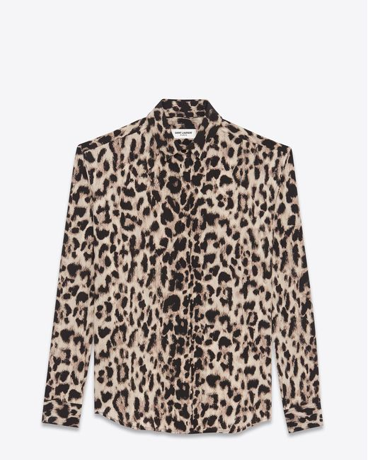 Saint Laurent   Natural Classic Shirt In Beige And Grey Leopard Printed Silk Crêpe   Lyst