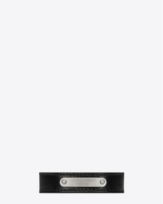 Saint Laurent - Id Bracelet In Black Moroder Leather And Oxidized Nickel - Lyst