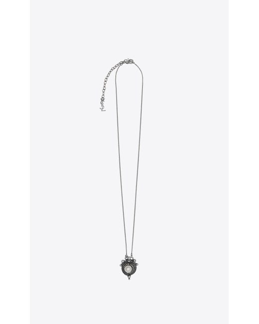 Saint Laurent - Metallic Marrakech Perle Pendant On Chain In Silver-toned Tin - Lyst