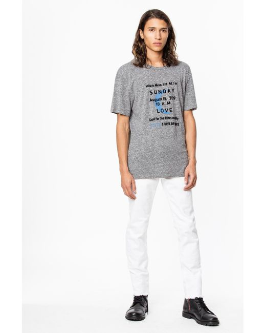 Zadig & Voltaire Gray Tommy Sunday T-shirt for men