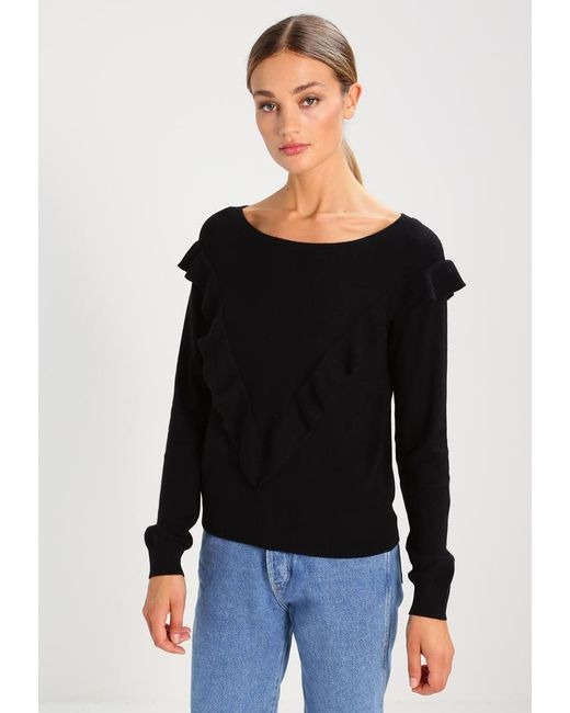 Gap | Black Boat Neck Ruffled Jumper | Lyst