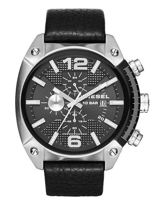 DIESEL   Black Diesel 'overflow' Chronograph Leather Strap Watch for Men   Lyst