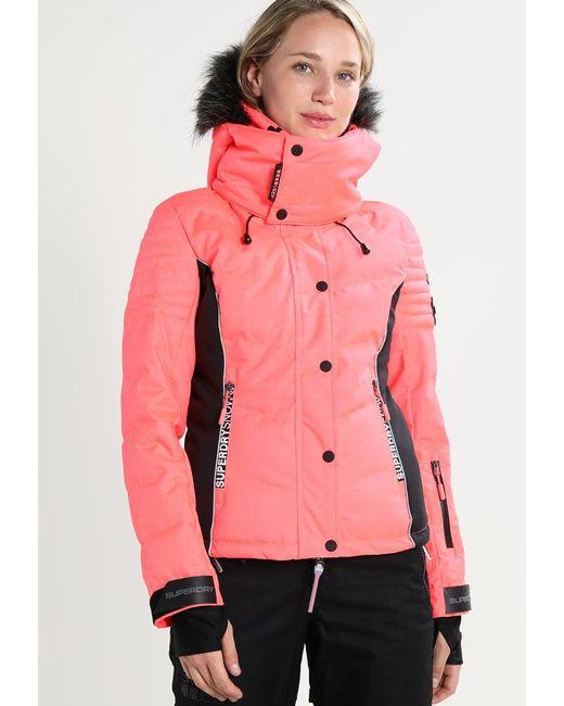 Superdry   Pink Snow Puffer Snowboard Jacket   Lyst