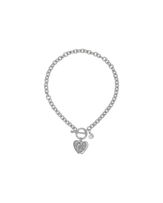Guess - Metallic Logo Overlay On Pave Heart Charm Toggle Front Necklace (rose Gold/crystal) Necklace - Lyst
