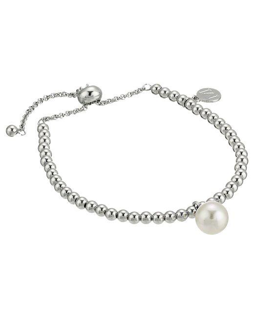 Majorica - 10mm Round Pearl On Steel Beaded Bracelet 6.5-11 (white) Bracelet - Lyst