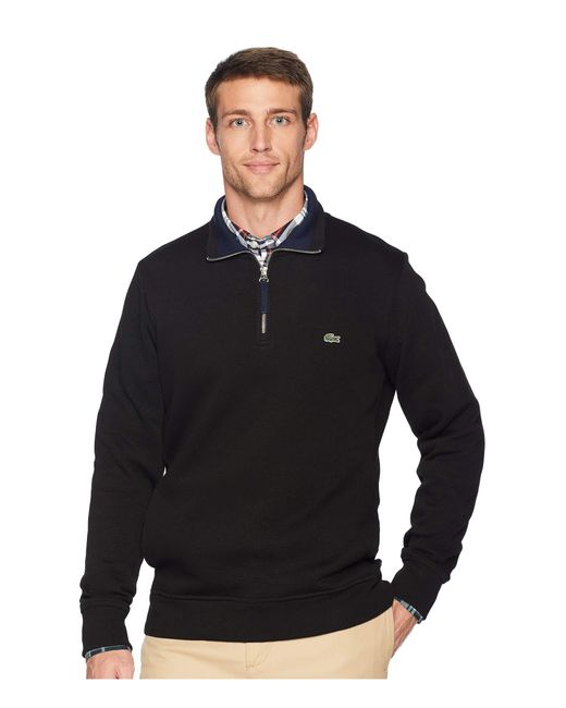 Lacoste - Long Sleeve Semi Fancy Front Zip W/ Rib Knit Detail (silver Chine/navy Blue) Men's Clothing for Men - Lyst