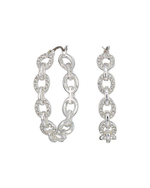 Lauren by Ralph Lauren - Metallic Crystal Pave Link Hoop Earrings (silver) Earring - Lyst