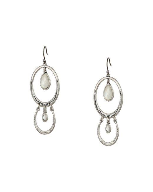 fabfd2327 Lucky Brand - Metallic Double Drop Etched Earrings (silver) Earring - Lyst  ...