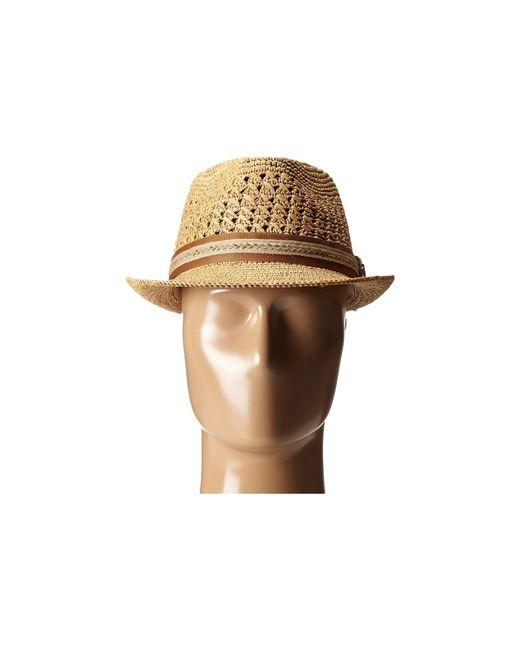 ff1d8910952e9 ... Tommy Bahama - Brown Vent Crochet Raffia Fedora (tea 1) Fedora Hats for  Men ...