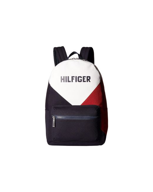 Tommy Hilfiger - Blue Hilfiger Logo Backpack Color Block Canvas for Men - Lyst