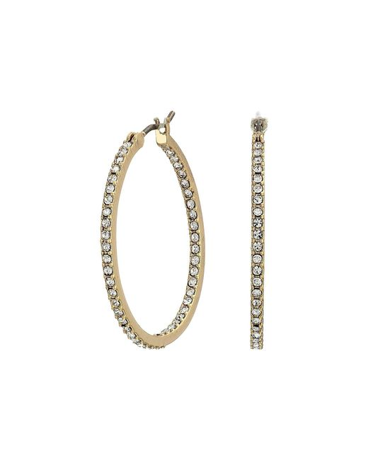 Lauren by Ralph Lauren - Metallic Micropave Hoop Earrings (gold) Earring - Lyst