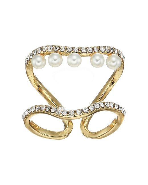 Vince Camuto - Metallic Double Row Pearl Ring (gold/crystal/ivory Pearl) Ring - Lyst