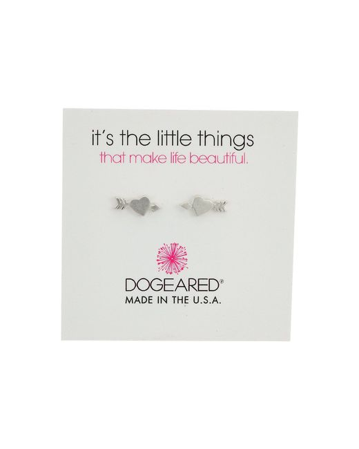 Dogeared | Metallic It's The Little Thing: Heart With Arrow Earrings | Lyst
