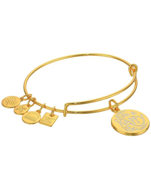 ALEX AND ANI - Metallic Charity By Design Live A Happy Life Bangle - Joe Andruzzi Foundation (shiny Sliver) Bracelet - Lyst