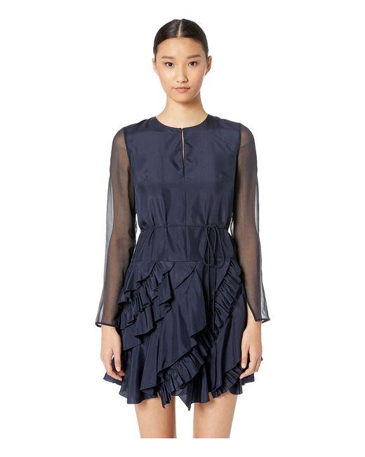 Jason Wu - Blue Silk Crew Long Sleeve Ruffle Dress (midnight) Women's Dress - Lyst