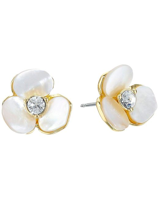 Kate Spade | White Disco Pansy Studs | Lyst