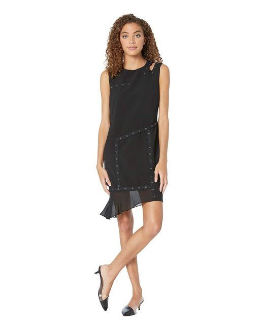 Nicole Miller Black Grommet Dress W/ Cut Out Shoulder