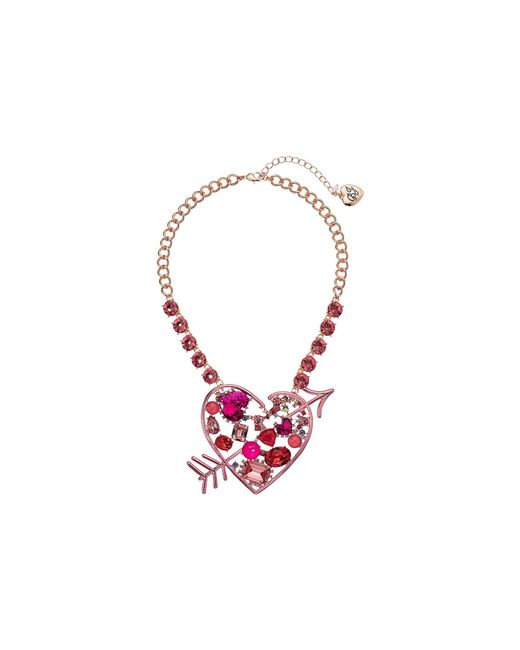 Betsey Johnson - Pink Heart Pendant Necklace - Lyst