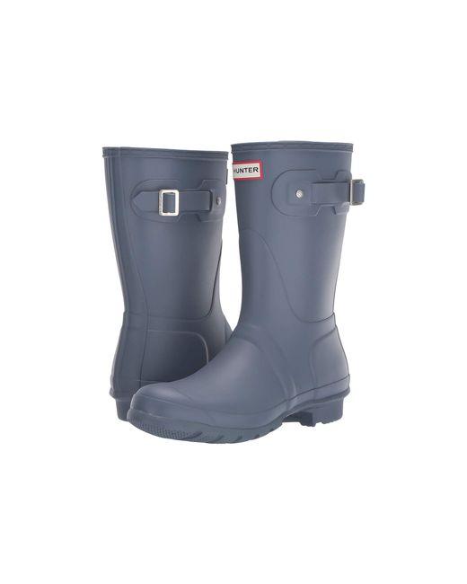 c61d5afb6f40 Hunter - Gray Original Short Rain Boots (black Matte) Women s Rain Boots ...