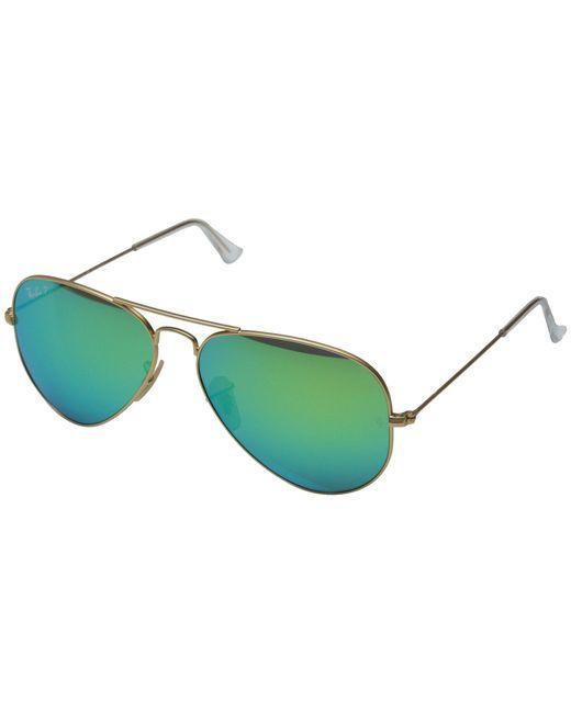 Ray-Ban - Metallic Rb3025 Aviator Polarized Flash Lenses 58mm (matte Gold/orange Mirror Polar) Polarized Fashion Sunglasses - Lyst