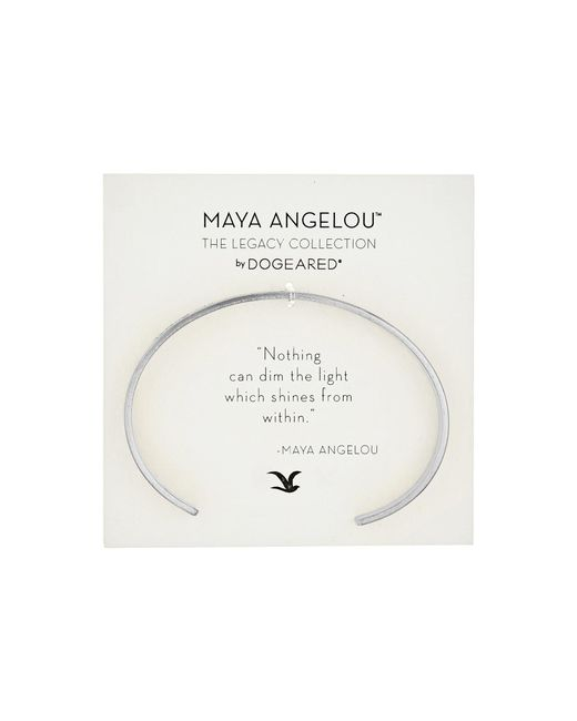 Dogeared - Metallic Maya Angelou Nothing Can Dim The Light Thin Engraved Cuff Bracelet - Lyst