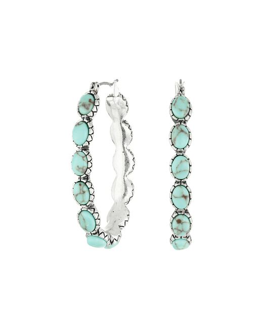 Lucky Brand - Blue Oblong Turquoise Inlay Hoop Earring - Lyst