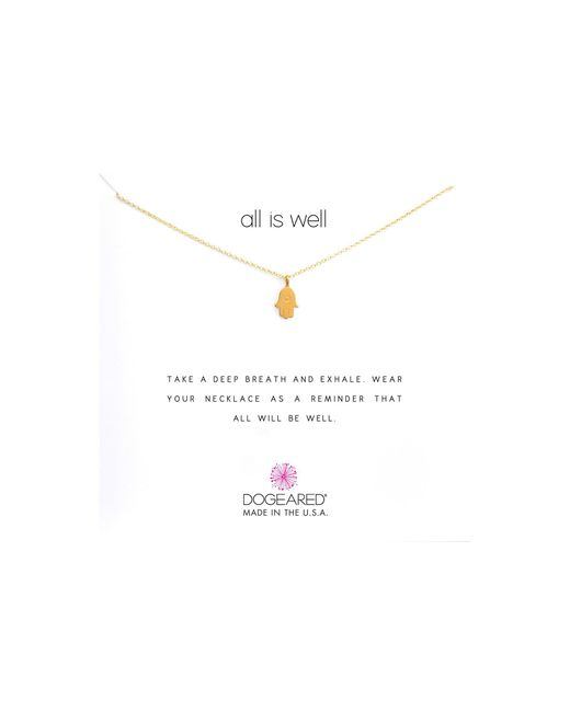 Dogeared - Metallic All Is Well Hamsa Reminder Necklace (sterling Silver) Necklace - Lyst