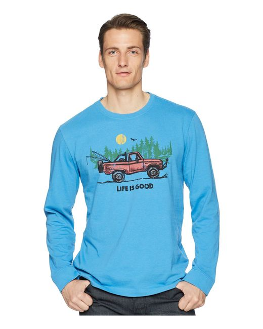 Life Is Good. - Fishing Truck Long Sleeve Crusher Tee (marina Blue) Men's T Shirt for Men - Lyst