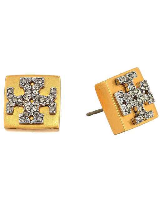 Tory Burch Metallic Block T Crystal Stud Earrings Vintage Gold Black Diamond
