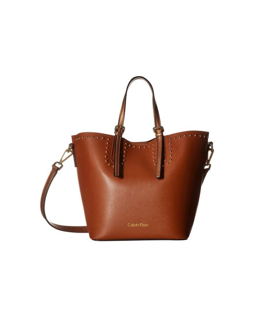 Calvin Klein - Brown Novelty Studded Small Tote (navy) Tote Handbags - Lyst