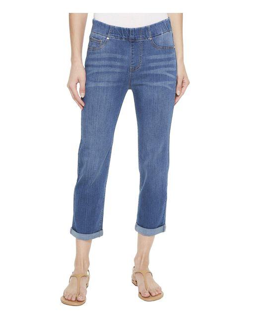 Liverpool Jeans Company - Blue Chloe Rolled Cuff Pull-on Capris In Silky Soft Denim In Coronado Mid - Lyst