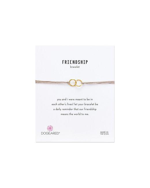Dogeared - Metallic Friendship Double Linked Rings Silk Bracelet (taupe/gold Dipped) Bracelet - Lyst