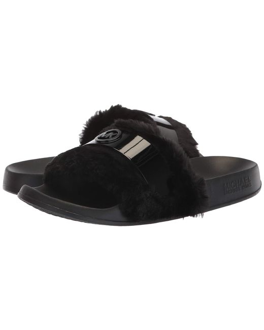 1f6007800c42 MICHAEL Michael Kors - Black Jett Slide (oxblood Faux Fur) Women s Shoes -  Lyst ...