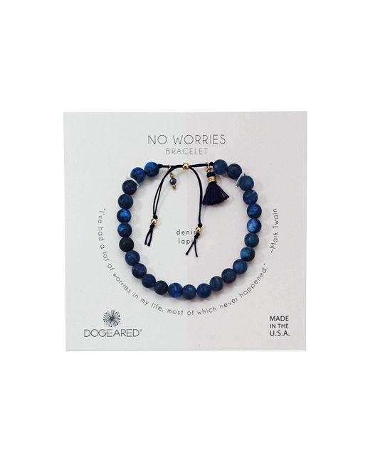 Dogeared - Blue No Worries Bracelet, Matte Lavender Jasper Bead Stone Bracelet With Nylon Pull Cord (gold Dipped) Bracelet - Lyst
