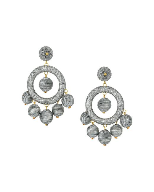 Kenneth Jay Lane - Metallic Graduated Silver Thread Wrapped Balls Drops W/ Dome Top Post Earrings (silver) Earring - Lyst