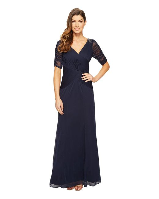 Adrianna Papell - Blue 3/4 Length Sleeve Rouched Stretch Tulle Dress With Beading - Lyst