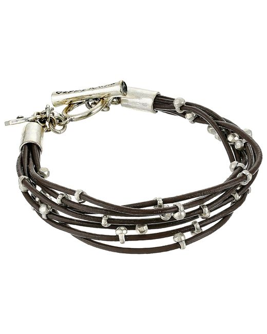 Lucky Brand | Metallic Silver Leather Bracelet | Lyst
