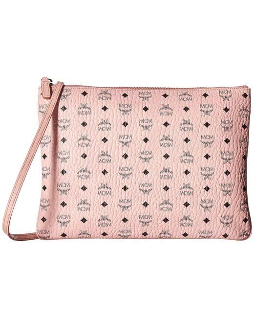 MCM - Color Visetos Medium Pouch (soft Pink) Travel Pouch - Lyst