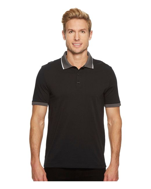 21087c85ca Perry Ellis - Black Tipped Collar Pima Cotton Polo (dark Sapphire) Men s  Clothing for ...