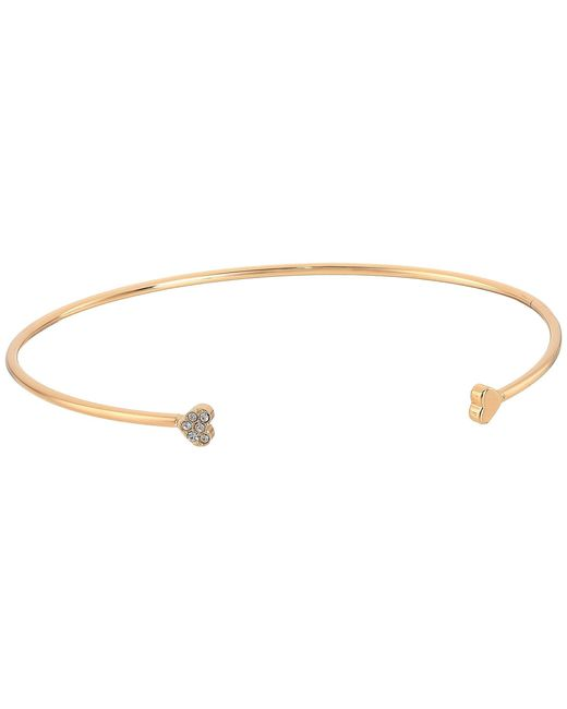 Fossil - Metallic Vintage Motif Heart Cuff With Pave Crystal - Lyst