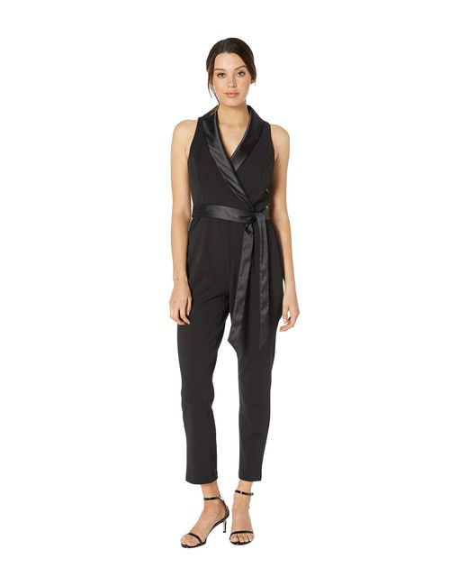 49174544c9 Adrianna Papell - Black Knit Crepe Wrap Top Sleeveless Jumpsuit With  Stretch Charmeuse Collar - Lyst ...