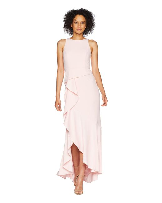 Adrianna Papell - Pink Sleeveless Long Knit Crepe Gown With Cascade Skirt Detail (pale Shell) Women's Dress - Lyst