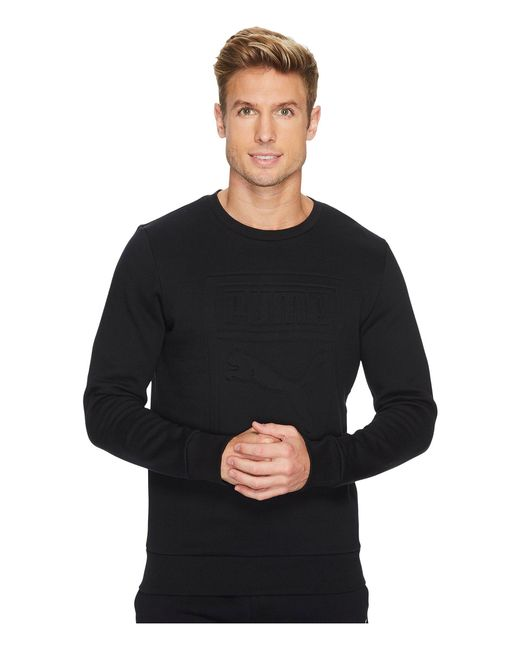 PUMA | Black Archive Embossed Logo Crew for Men | Lyst